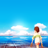 wistfuljane: chihiro from sprited away walking toward the train station in the river (sea)