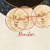 nightbird: astronomy illustration, three overlapping faces (three-in-one/three as one)