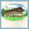 feather_ghyll: Illustration of the Chalet against a white background with blue border (Chalet School)