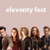 eleventyfest: eleven, clara, river, amy and rory, text reads 'eleventy fest' (Default)