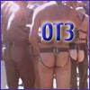 lferion: 3 men with butt-cheeks showing, light, medium and dark skintones, text: 'OT3' (Ero_FolsomOT3)