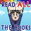 korafox: Dahlia holds up a book, a rainbow shooting out of it.  Text: READ ALL THE BOOKS (reading rainbow)