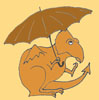 pebblerocker: A worried orange dragon, holding an umbrella, gazes at the sky. (Draco ceratops)