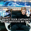 hakainokami: Kirk in captains chair, I reject your captaincy and substitute my own (kirk reject)