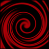 jovianstorm: A red swirl on a black background. (rozz hat 13)