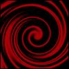 jovianstorm: A red swirl on a black background. (prince poppycock fan 15)