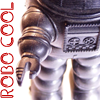 "robotbigbang: silver robot red text reads ""robo cool"" (robo cool!)"