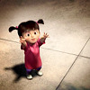 "next_to_normal: Boo on the floor, hands outstretched in a ""pick me up"" gesture (Boo - Monsters Inc)"