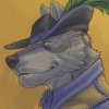 lindskoldjanis: a headshot in profile of an anthropomorphic sarlooswolfhund in pirate gear (brown pirate)