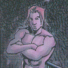 fierynotes: Picture of Daimon, from Marvel comics, without a shirt.  'Look at me, I have muscles!' (flirty)