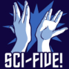 "oulfis: Blue-toned drawing of two hands in Vulcan salute high-fiving, with caption ""SCI-FIVE!"" (sci five, funny, sci fi)"