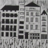 abouthalfthree: black on white lino print of a domestic street (Köln)