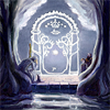 dorothean: detail of painting of Gandalf, Frodo, and Gimli at the Gates of Moria, trying to figure out how to open them (speak friend)
