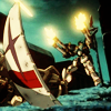 raletha: Endless Waltz Heavyarms laying down a barrage with Trowa's mask in the foreground (gundam wing - heavyarms - mask ew)
