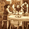 guardians_song: A crop from FE7's Arcadia CG showing Nergal and two villagers chatting over scrolls. (analytical)