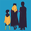 cloud_wolf: rearshot of robin!damian, batgirl!steph and red robin!tim (viola)