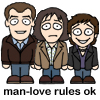 "littlemoose: A cute cartoon drawing of the three Top Gear presenters standing in a line with the caption ""Man-love Rules OK"" (TG: miniTrio - manlove)"