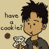 mecurtin: Chibi John Sheppard gives cookies (have a cookie)