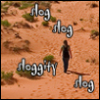 kit_r_writing: Distance shot of a person walking through a desert landscape.  Text: slog slog sloggity slog. (slog slog sloggity slog)