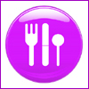 acelightning: shiny purple plate with cartoon flatware (eats03)