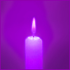 acelightning: purple glowing candle (candle)