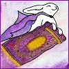acelightning: caped, smiling bunny flying on a magic carpet (flying bunny)