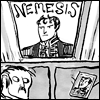 """ohtheclevernessofme: from Kate Beaton's comic """"Hark! a Vagrant!"""". a man lays in bed and stares longingly at a picture of his """"nemesis"""" (i don't have a Valjean/Javert icon so)"""