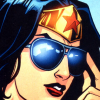 carnivorousgiraffe: Wonder Woman sliding on a pair of large black sunglasses. (Teatime)