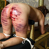 ohtheclevernessofme: a picture of someone tied up, ass in the air, having been apparently recently caned (kink bingo)
