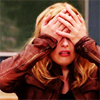 petra: A blonde woman with both hands over her face (Britta - Twohanded facepalm)
