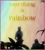 "hokuton_punch: An icon of Ginko and the rainbow mushi from Mushishi, captioned ""Everything is rainbow."" (mushishi everything rainbows)"