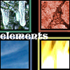 elements: Photos representing 4 elements: ice, clay, fire, sky.  (Default)