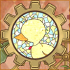 stealth_noodle: A stained glass image of a duck surrounded by gears. (princess tutu)