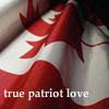 "cow: A still of a waving Canadian flag with ""true patriot love"". (canada)"