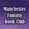 mcrfantasybc: Lavender text 'Manchester Fantasy Book Club' against a purple starry sky. (mcr fantasy book club, purple starry sky)