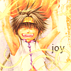 "naye: goku from saiyuki gaiden holding a pumpkin and smiling with the word ""joy"" (goku - joy)"