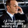 "alee_grrl: Coulson on hold with Natasha, text is the first line of chorus from ""Girl From Ipanema"" (coulson 1)"