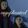 katlinel: Amelia Pond and Amy Pond, holding hands, labelled 'complicated' (Amelia Amy Complicated)