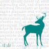 theoriesontales: Picture of a teel coloured deer on a background of text too tiny to be read (tldr) (Default)
