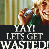 "theoriesontales: Starbuck rising a glass with the text ""Yay, Let's get wasted"" (party)"