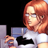 alee_grrl: Oracle in bat t-shirt at computer (oracle)