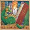 alee_grrl: Little green dragon with cookie sitting on a bookshelf reading a book by candlelight (dragon)