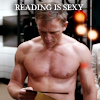 meloukhia: Daniel Craig, shirtless, a book in hand. Text says 'reading is sexy' (Reading is Sexy)