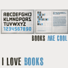 meloukhia: On open book at the top, showing the alphabet on one side, text on the other. 'Books are cool' & 'I love books' below. (I love books)