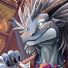 monsterboy: A blue dragon alchemist smiling as he pours liquid from a flask. (dragon alchemist)