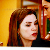 goodbyebird: The Good Wife: Kalinda leans in and whispers something to Alicia. (TGW close)