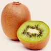 meloukhia: A whole kiwi, with a halved kiwi next to it.  (Kiwis)