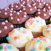 meloukhia: Cupcakes, frosted with polka dots. (Cupcakes)