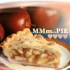 meloukhia: A slice of apple pie, with apples in the background. Text reads 'Mmm...pie' with little hearts. (Mmm...pie)