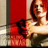 meloukhia: Lola from 'Run Lola Run' with the text 'spiraling downward.' Image has stark red, gray, and white colouring. (Lola)